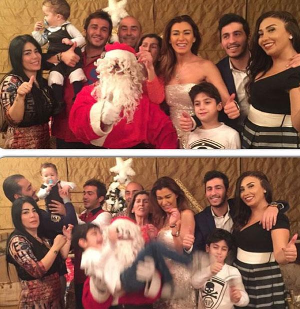 نادين الراسي وعائلتها يحتفلون بالكريسماس