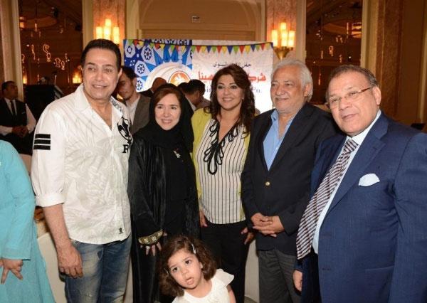 الهام شاهين و هالة صدقي و حكيم في حفل إفطار قناة المحور