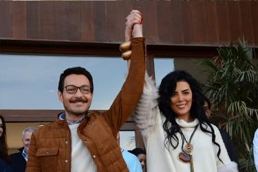 حورية فرغلي و احمد زاهر يحتفلان ببدء تصوير الحالة ج